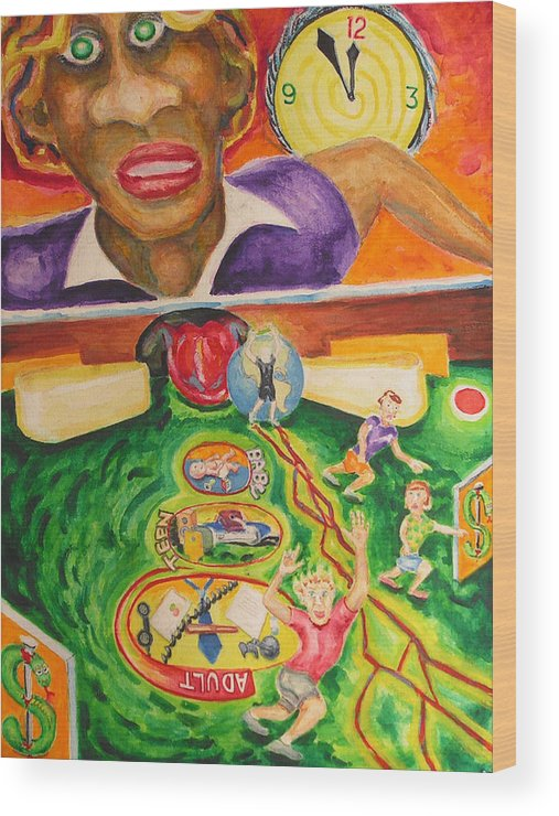 Watercolor Wood Print featuring the painting The Game Of Life by Mark Sharer