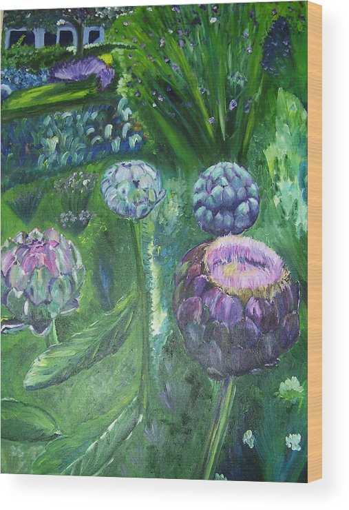 Vegetables Wood Print featuring the painting The Garden by Murielle Hebert