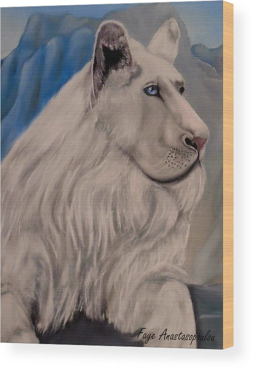 Lion Wood Print featuring the painting The Guardian by Faye Anastasopoulou