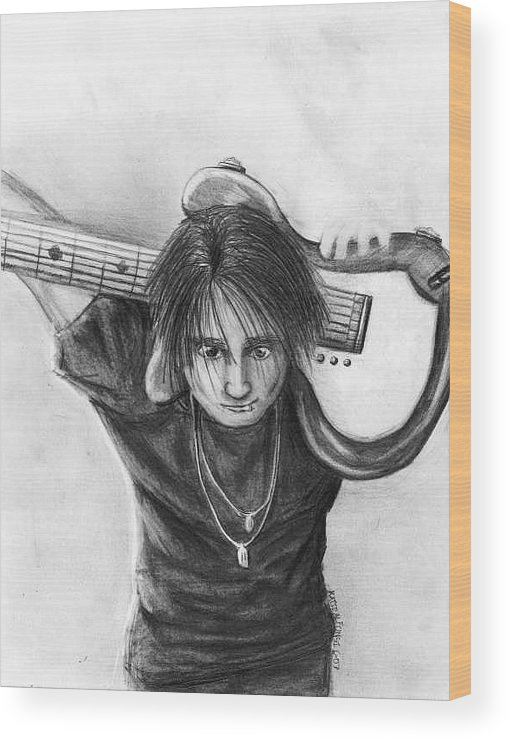 Guitarist Wood Print featuring the drawing The Guitarist by Katie Alfonsi