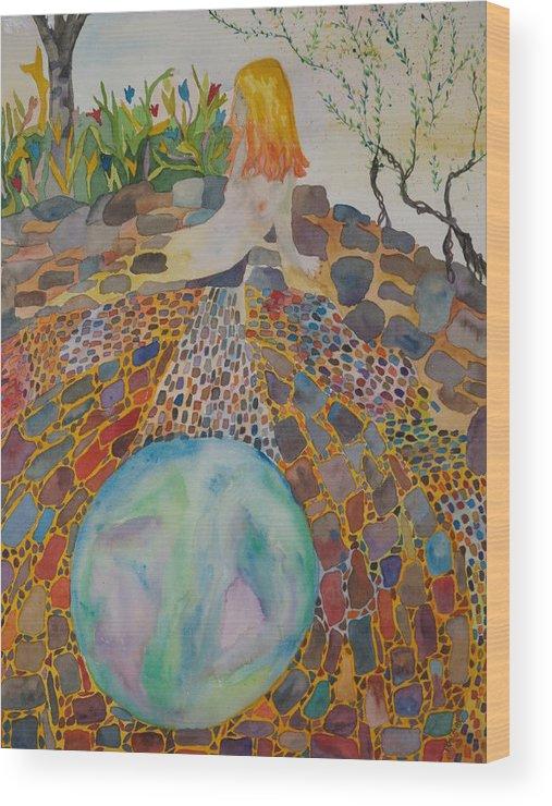 Kiva Wood Print featuring the painting The Kiva by Aline Kala