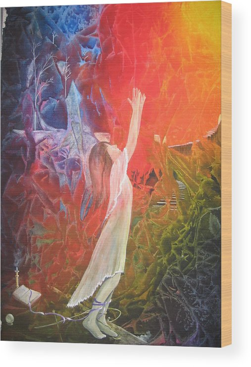 Cover Art Wood Print featuring the painting The Light by Jackie Mueller-Jones