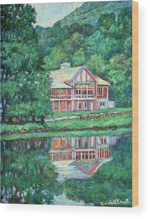Lodge Paintings Wood Print featuring the painting The Lodge At Peaks Of Otter by Kendall Kessler