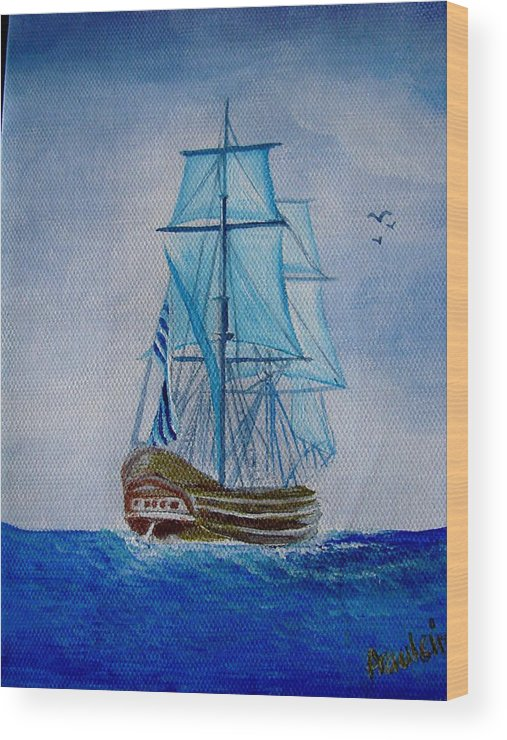 Ship Wood Print featuring the painting The Loner by Glory Fraulein Wolfe