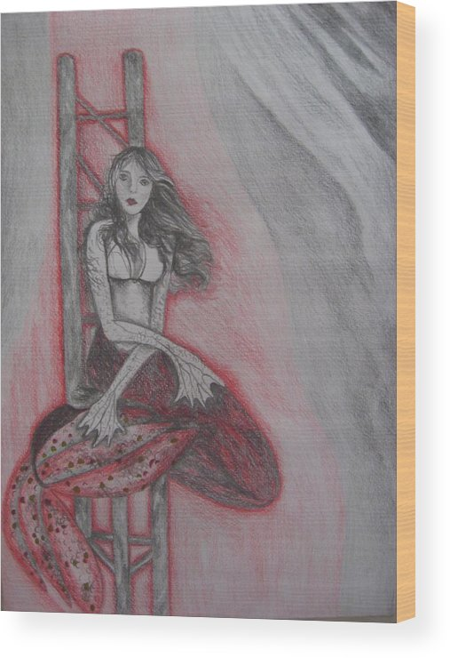 Mermaid Wood Print featuring the drawing The Mermaid by Theodora Dimitrijevic