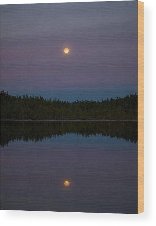 Lehtokukka Wood Print featuring the photograph The Moon Over Kirkas-soljanen 3 by Jouko Lehto