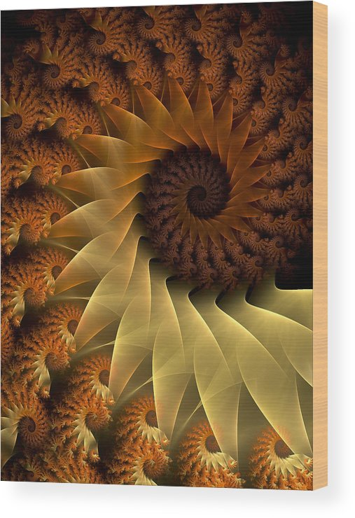Fractal Wood Print featuring the digital art The Rising Sun by Amorina Ashton