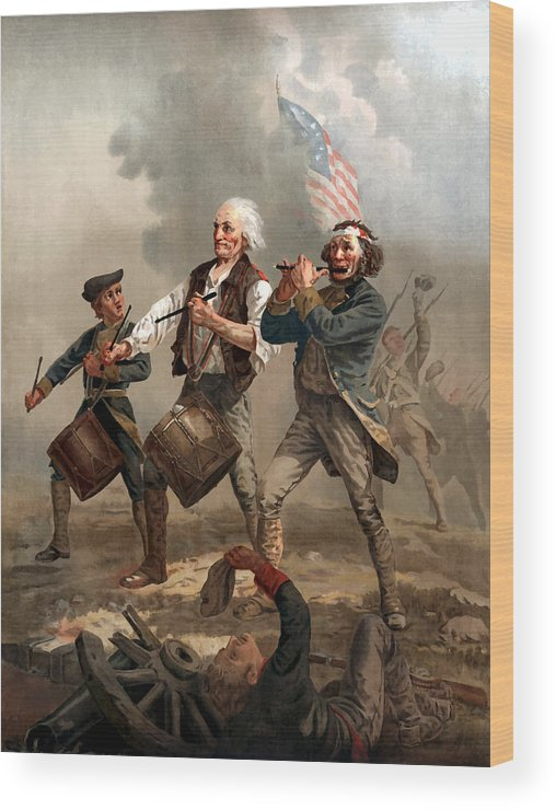 Yankee Doodle Wood Print featuring the painting The Spirit Of '76 by War Is Hell Store