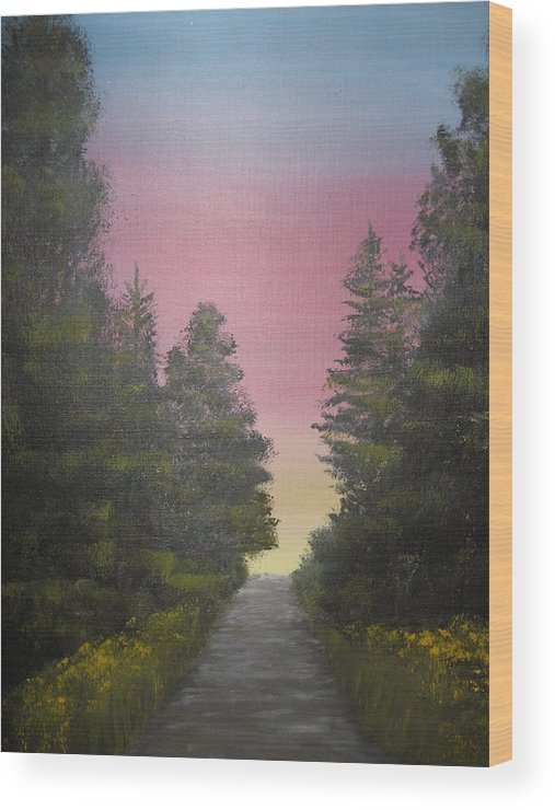 Northwest Landscape Wood Print featuring the painting The Straight And Narrow Path by Terri Warner