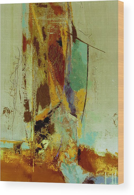 Abstract Wood Print featuring the painting The Testimony by Ruth Palmer
