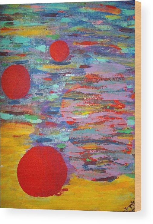 Abstract Wood Print featuring the painting Three Red Moons by Samantha Gilbert