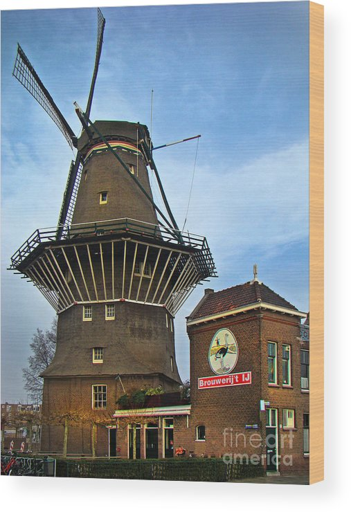 Windmill Wood Print featuring the photograph Tilting At Windmills In Amsterdam by Al Bourassa