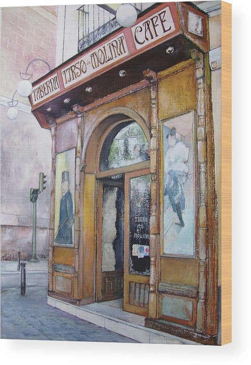 Tirso Wood Print featuring the painting Tirso De Molina Old Tavern by Tomas Castano