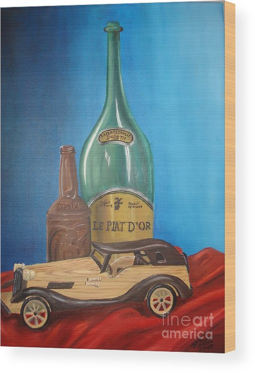 Old Car Green Bottle Alchohol Wood Red Cloth Beer Collectable Table Top Cool Toy Whine Smooth Wood Print featuring the painting Toy Car And Bottles by Rosanna Hardin