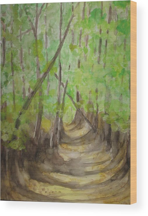 Landscape Wood Print featuring the painting Trail In Woods by Diana Prout