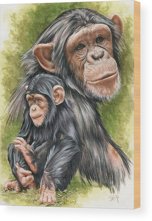 Chimpanzee Wood Print featuring the mixed media Treasure by Barbara Keith