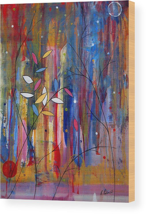 Abstract Wood Print featuring the painting Tres Jolie by Ruth Palmer
