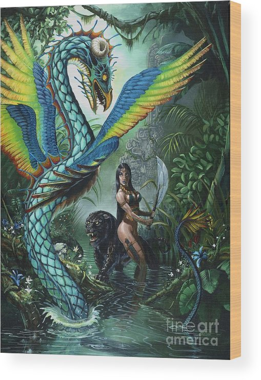 Dragon Wood Print featuring the painting Tropical Temptress by Stanley Morrison