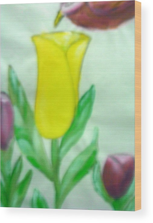 Flowers Wood Print featuring the painting Tulip And Hummingbird by BJ Abrams