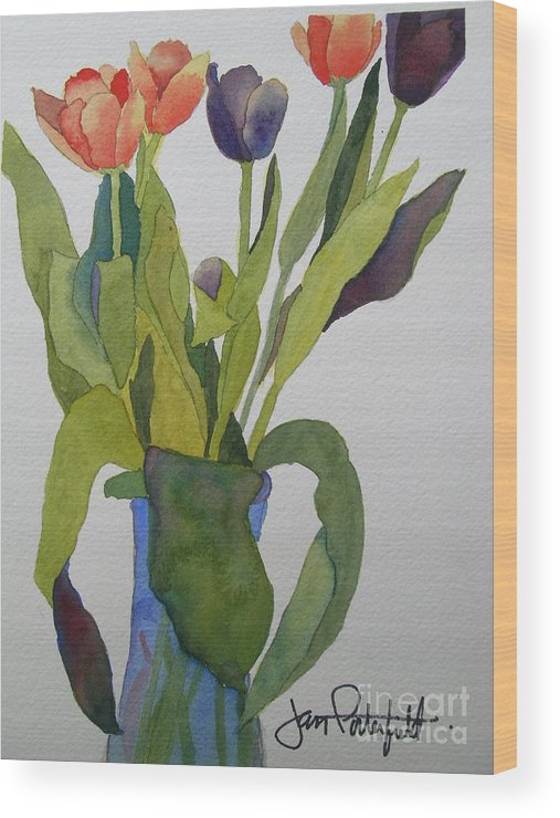 Tulip Wood Print featuring the painting Tulips In Blue Vase by Jeff Friedman