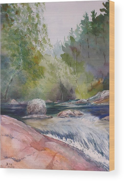 Water Wood Print featuring the painting Tumbling Waters by Debbie Homewood