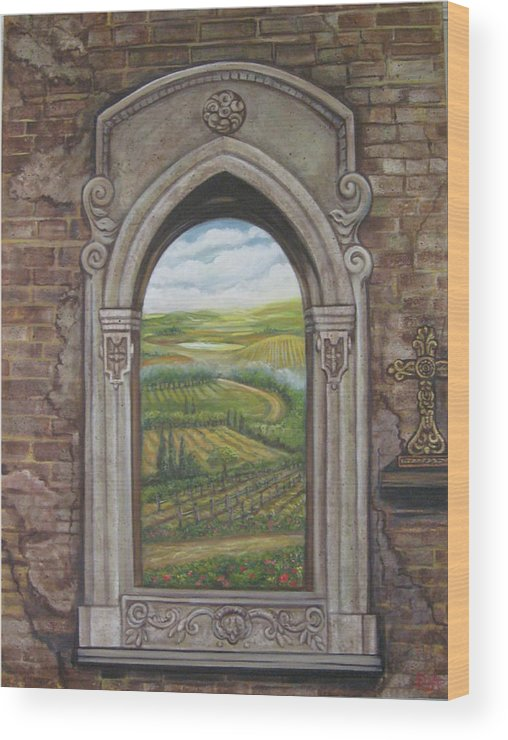 Window Wood Print featuring the painting Tuscan View by Diann Baggett