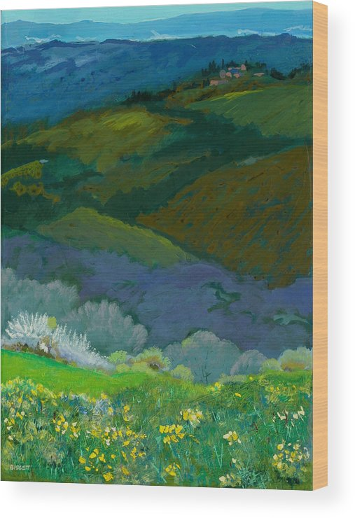 Landscape Wood Print featuring the painting Tuscan Vista by Robert Bissett