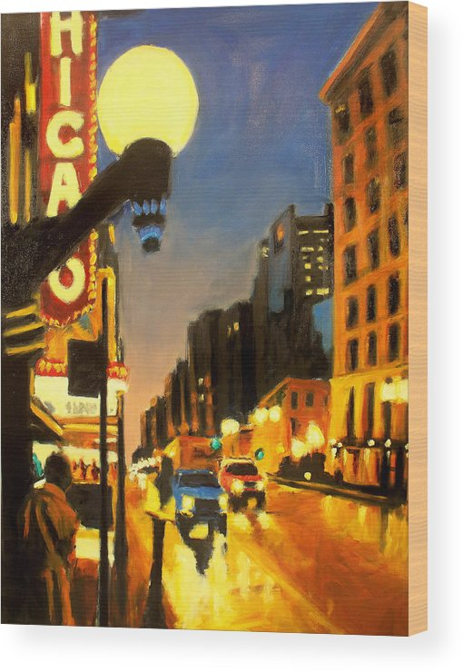 Rob Reeves Wood Print featuring the painting Twilight In Chicago - The Watcher by Robert Reeves