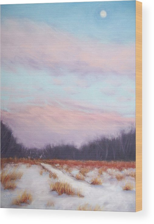 Winter Landscape Wood Print featuring the pastel Twilight Winter Whisper by Christine Camp