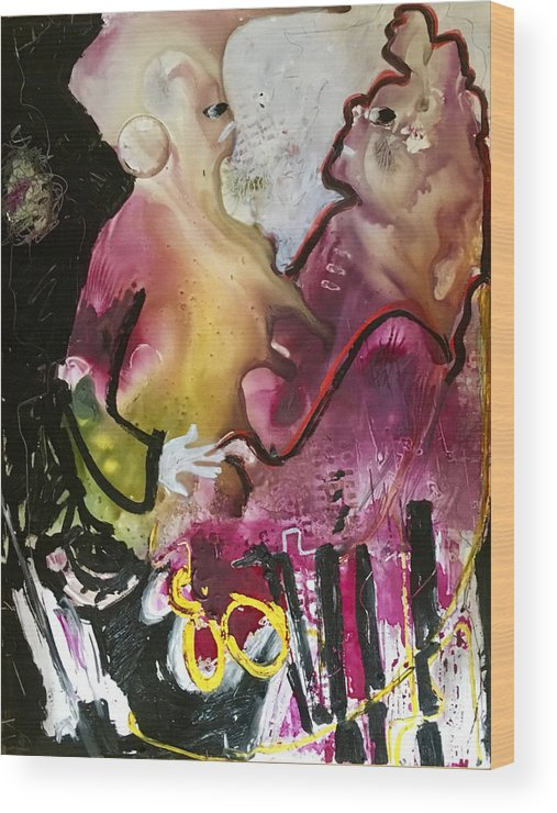 Abstract Wood Print featuring the painting Two To Tango by Carole Johnson