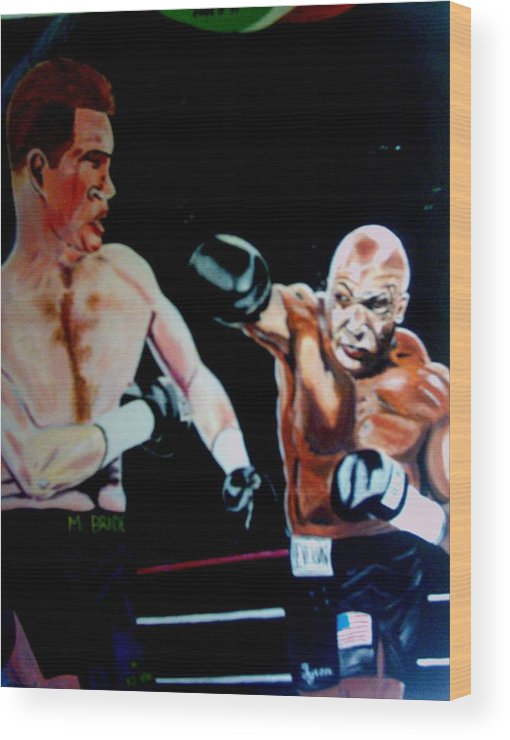 Mike Tyson Wood Print featuring the painting Tyson by Colin O neill