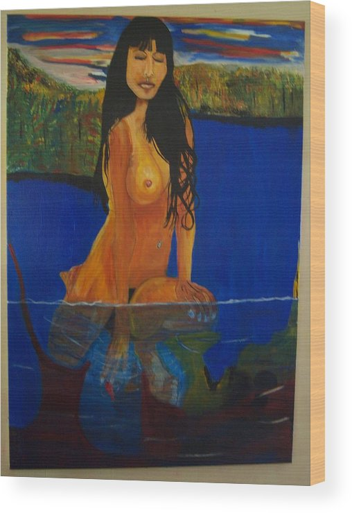 Nude Wood Print featuring the painting Underwater Woman by Dominic Angarano