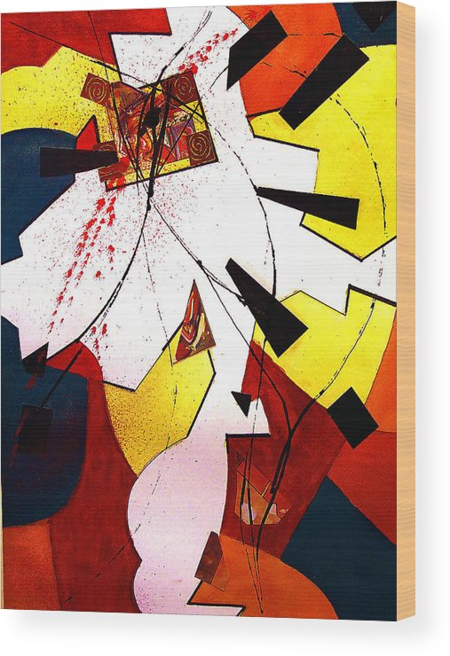 Collage Wood Print featuring the painting Untitled Abstract by Tom Herrin
