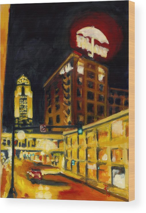 Rob Reeves Wood Print featuring the painting Untitled In Red And Gold by Robert Reeves