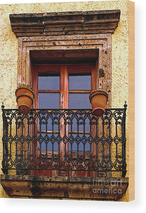 Tlaquepaque Wood Print featuring the photograph Upper Window Tlaquepaque by Mexicolors Art Photography