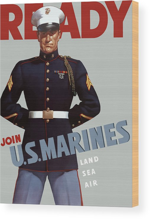 Marine Recruiting Wood Print featuring the painting Us Marines - Ready by War Is Hell Store
