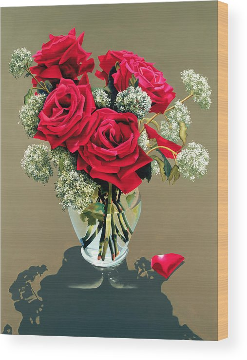 Flower Wood Print featuring the painting Valentine Roses by Ora Sorensen