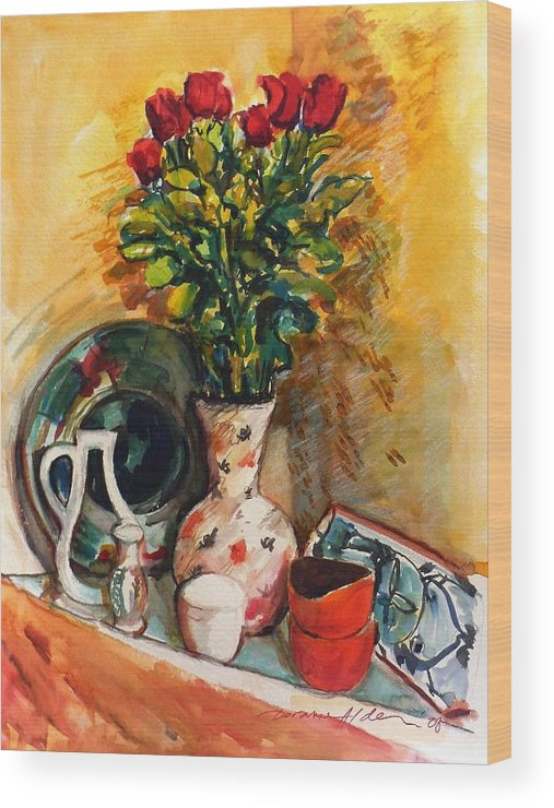 Floral Wood Print featuring the painting Valentine's Day Bouquet by Doranne Alden