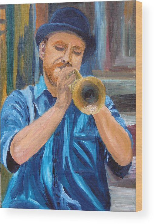 Musician Wood Print featuring the painting Van Gogh Plays The Trumpet by Michael Lee