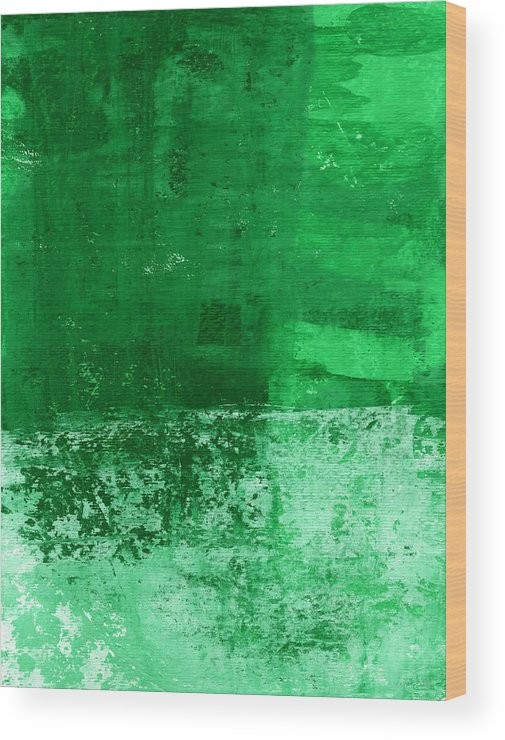 Green Abstract Wood Print featuring the painting Verde- Contemporary Abstract Art by Linda Woods