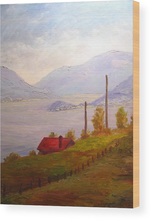 Italy Wood Print featuring the painting View Of Bellagio Lake Como Italy by Belinda Consten