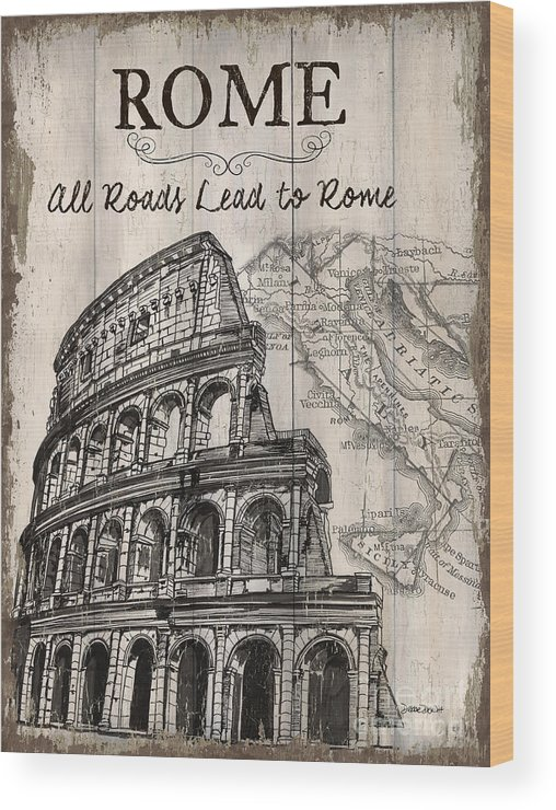 Rome Wood Print featuring the painting Vintage Travel Poster by Debbie DeWitt