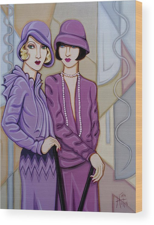 Flappers Wood Print featuring the painting Violet And Rose by Tara Hutton