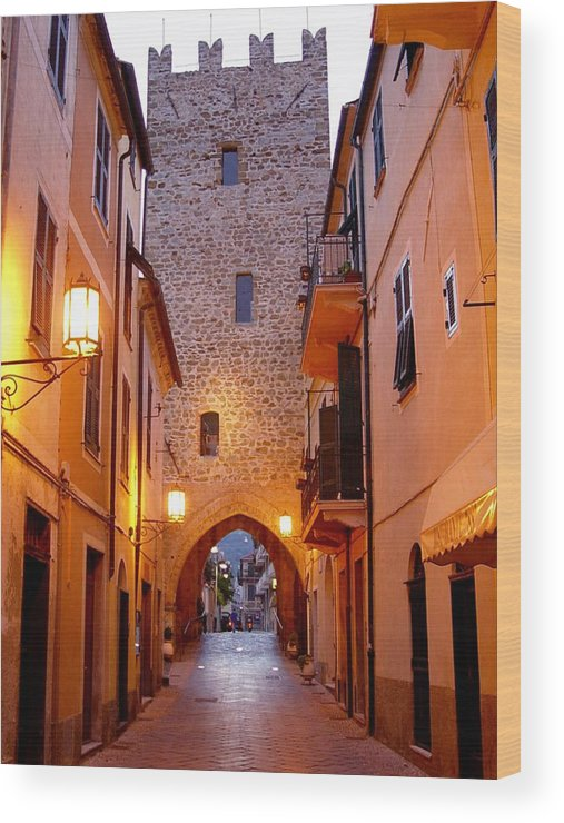 Cobblestone Walk Wood Print featuring the photograph Visions Of Italy Archway by Nancy Bradley