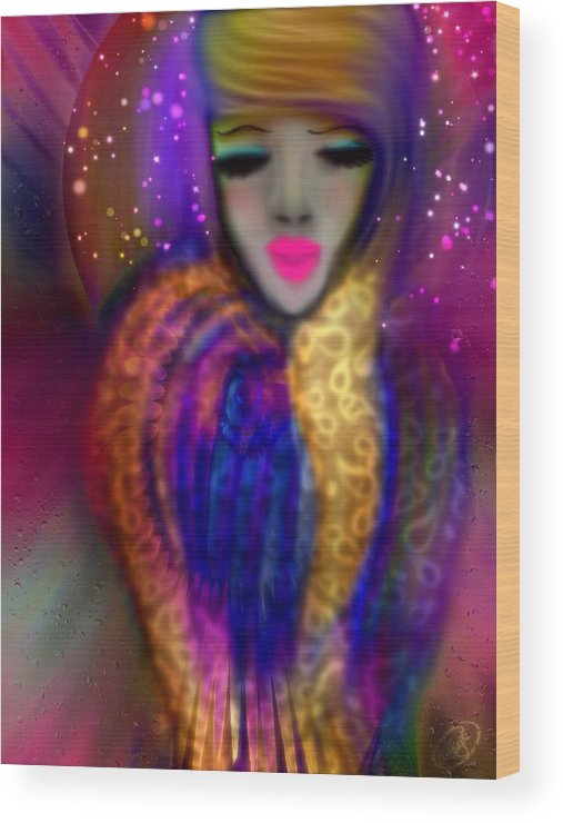 Angel Wood Print featuring the digital art Waiting For Wisdom by Aixa Olivo