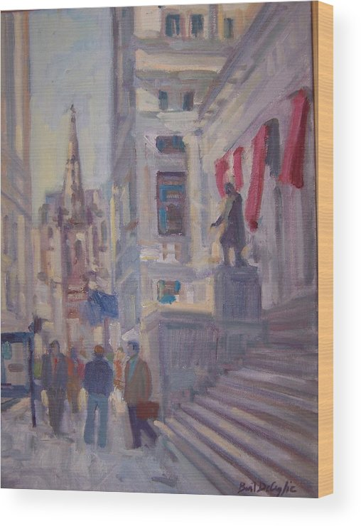 Street Scene Of Wall St.trinity Church Wood Print featuring the painting Wall St. by Bart DeCeglie