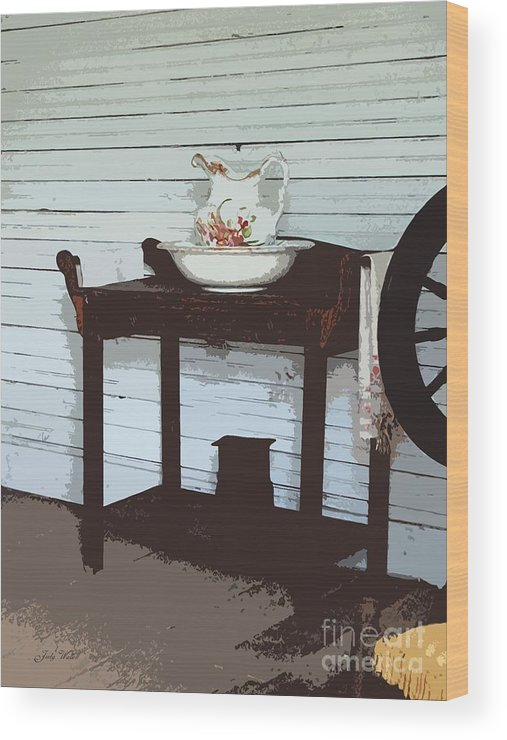 Old Wood Print featuring the photograph Wash Stand by Judy Waller