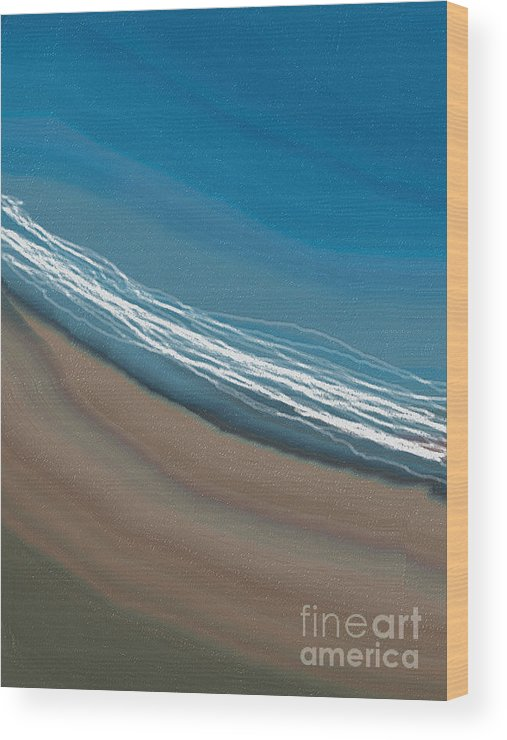Water Wood Print featuring the digital art Water And Sand by Julie Grimshaw