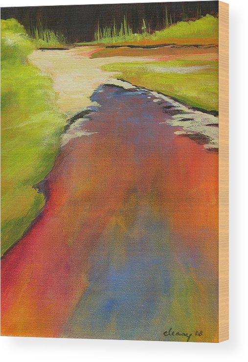 Landscape Wood Print featuring the painting Water Garden Landscape 7 by Melody Cleary