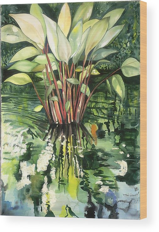 Foliage In A Pond Wood Print featuring the painting Water Plant by Ileana Carreno